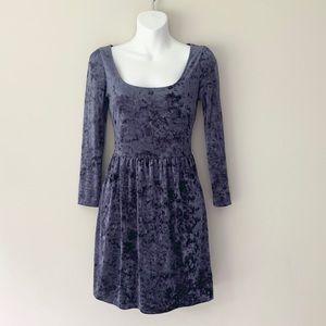Kimchi Blue Crushed Velvet 3/4 Sleeve Skater Dress